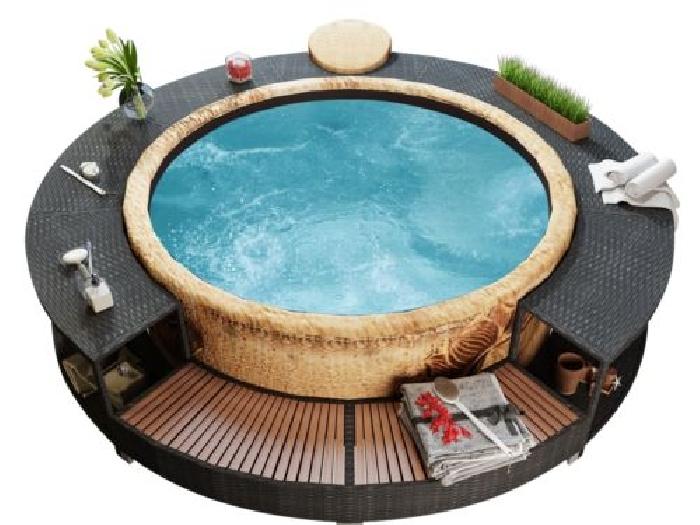 Contour de aqua spa rond spa de jardin spa ext rieur en polyrotin noir spa - Jacuzzi rond exterieur ...