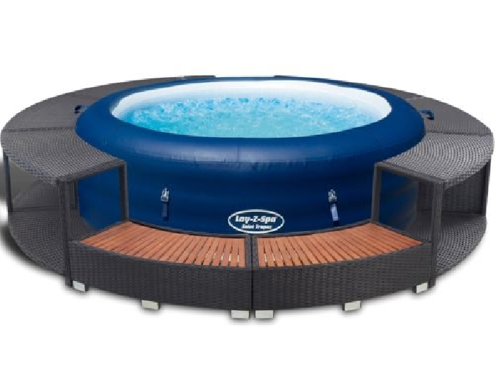 bestway lay z spa jacuzzi cuve thermale gonflable 196x61cm avec bordure en rotin spa jacuzzi. Black Bedroom Furniture Sets. Home Design Ideas
