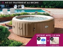 Spa gonflable Intex PureSpa rond Bulles 4 places + Kit brome