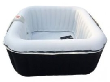 Spa gonflable carré 2 adultes + 2 enfants B-HAPPY - L155*l 155*H65cm - 130 buses d'air - Noir