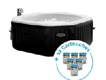 Spa gonflable Intex PureSpa Jets et Bulles 4 personnes + 12 Cartouches Pure Spa