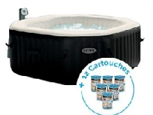 Spa gonflable Intex PureSpa Jets et Bulles 6 personnes + 12 Cartouches Pure Spa