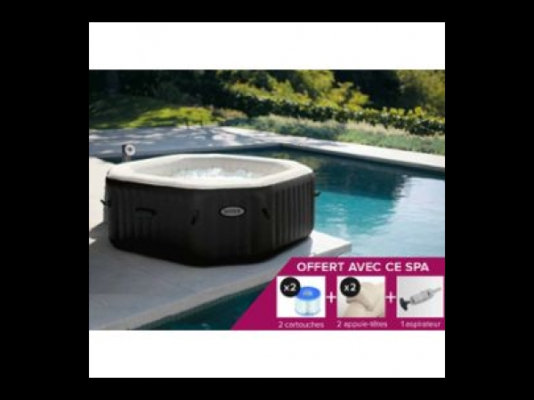 spa gonflable purespa octogonal bulles jets 6 places intex spa jacuzzi. Black Bedroom Furniture Sets. Home Design Ideas