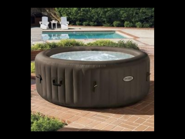 intex pure spa rond gonflable a jets 4 places 196x71cm marron spa jacuzzi. Black Bedroom Furniture Sets. Home Design Ideas