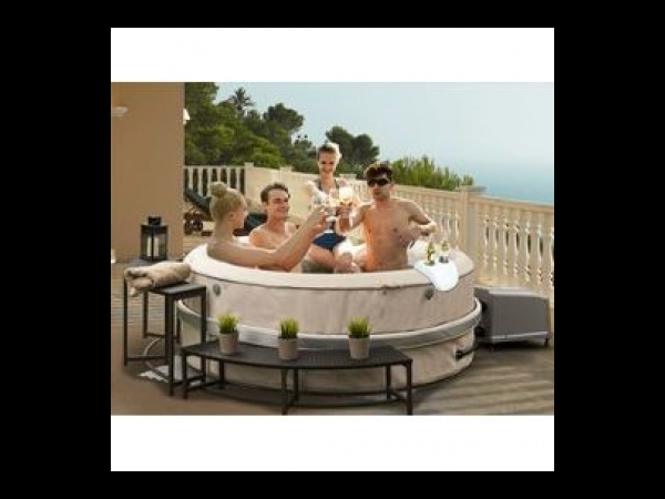 spa gonflable birkin jet rond 4 places cuir synth tique spa jacuzzi. Black Bedroom Furniture Sets. Home Design Ideas