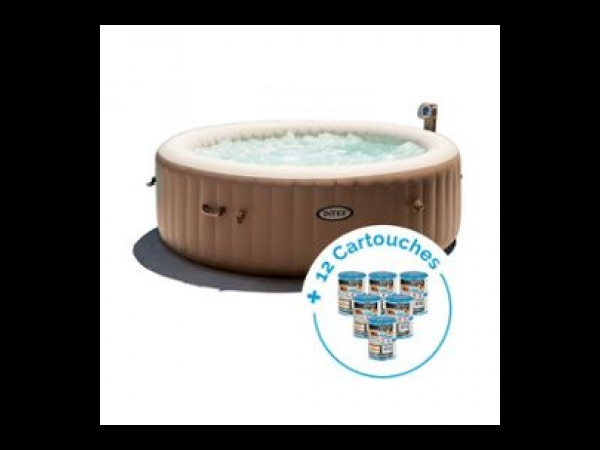 Spa gonflable Intex PureSpa Bulles 6 personnes + 12 Cartouches Pure Spa