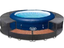 Bestway Lay-z-Spa Jacuzzi Gonflable avec Bordure PE Rotin Cuve Thermale