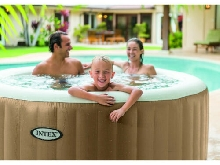 INTEX PureSpa Bulles beige 4 places 196x71cm spa jacuzzi luxe gonflable chauffag